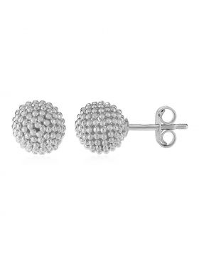 14k White Gold Post Earrings with Beaded Spheres