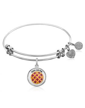 Expandable White Tone Brass Bangle with Enamel Ride or Pie Symbol