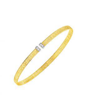 14k Two Tone Gold Narrow Silk Textured Cuff Bangle with Diamonds