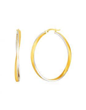 14k Two Tone Gold Twisted Oval Hoop Earrings