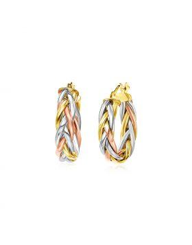 14k Tri Color Gold Three Toned Braided Hoop Earrings