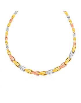 Graduated Flower Link Necklace in 14k Tri Color Gold