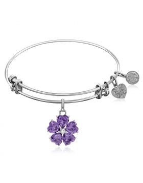 Expandable White Tone Brass Bangle with Purple and White Cubic Zirconia Flower