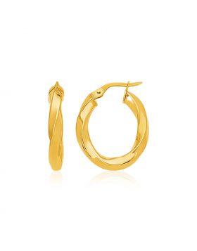 14k Yellow Gold Italian Twist Hoop Earrings