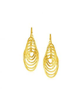 14k Yellow Gold Post Earrings with Graduated Spiral Dangles