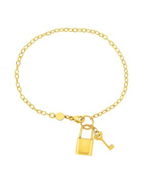 Bracelet with Lock and Key in 14k Yellow Gold-7.5''
