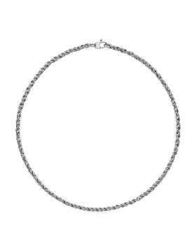 14k White Gold 17 inch Braid Link Necklace
