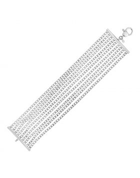Sterling Silver 7 1/2 inch Nine Strand Polished Link Bracelet-7.5''