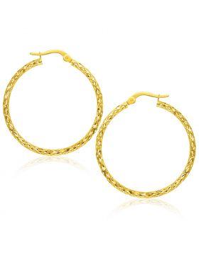 14k Yellow Gold Textured Large Hoop Earrings