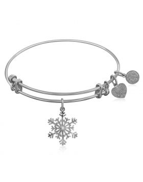 Expandable White Tone Brass Bangle with Snowflake Symbol with Cubic Zirconia
