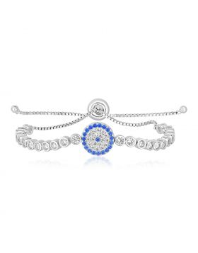 Sterling Silver Adjustable Enameled Eye Motif Bracelet with Cubic Zirconias-9.25''