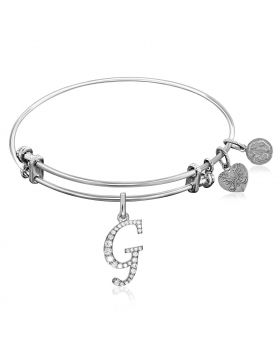 Expandable White Tone Brass Bangle with G Symbol with Cubic Zirconia