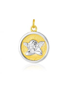 14k Two Tone Gold Round Angel Medal Pendant