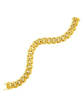 14k Yellow Gold Textured Wide Curb Chain Bracelet-8.25''
