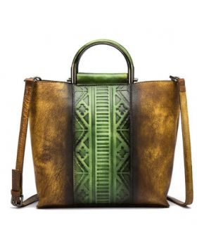 Brenice Splicing Handmade Tote Handbags Cowhide Shoulder Bag