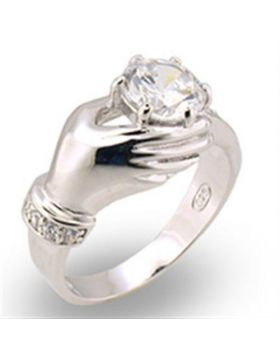 30320-5 - 925 Sterling Silver High-Polished Ring AAA Grade CZ Clear