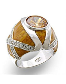 37414-5 - 925 Sterling Silver High-Polished Ring AAA Grade CZ Champagne