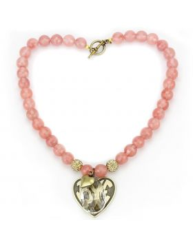 LO4662-18 - White Metal Antique Copper Necklace Synthetic Light Peach