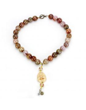 LO4663-18 - Brass Antique Copper Necklace Semi-Precious Multi Color