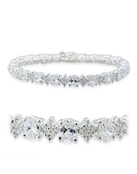 31916-7 - 925 Sterling Silver High-Polished Bracelet AAA Grade CZ Clear
