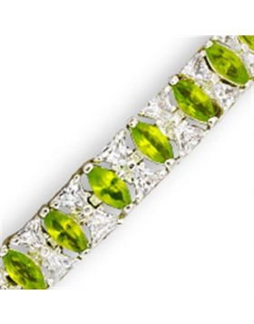 31921-7 - 925 Sterling Silver High-Polished Bracelet Synthetic Peridot