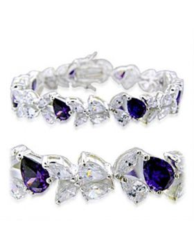 31924-7 - 925 Sterling Silver High-Polished Bracelet AAA Grade CZ Amethyst