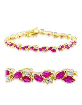 32001-7 - Brass Gold Bracelet Synthetic Ruby
