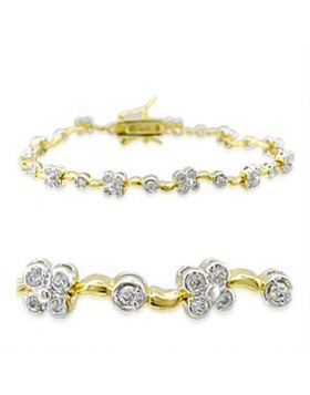 32003-7 - Brass Gold+Rhodium Bracelet AAA Grade CZ Clear