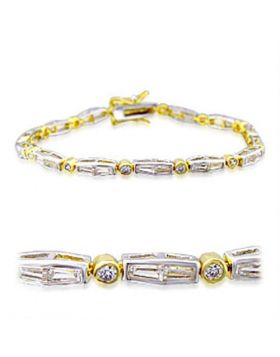 32004-7 - Brass Gold+Rhodium Bracelet AAA Grade CZ Clear