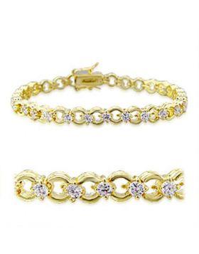 32005-7 - Brass Gold Bracelet AAA Grade CZ Clear