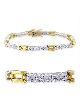 32008-7 - Brass Gold+Rhodium Bracelet AAA Grade CZ Clear