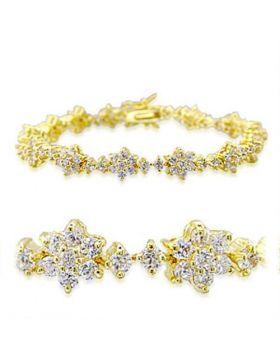 32009-7 - Brass Gold Bracelet AAA Grade CZ Clear