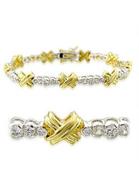 32011-7 - Brass Gold+Rhodium Bracelet AAA Grade CZ Clear