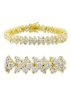 32012-7 - Brass Gold Bracelet AAA Grade CZ Clear