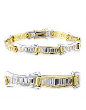 32013-7 - Brass Gold+Rhodium Bracelet AAA Grade CZ Clear