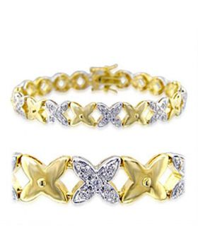 32014-7.25 - Brass Gold+Rhodium Bracelet AAA Grade CZ Clear