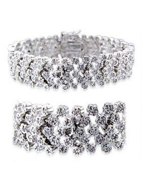 32019-7 - Brass Rhodium Bracelet AAA Grade CZ Clear