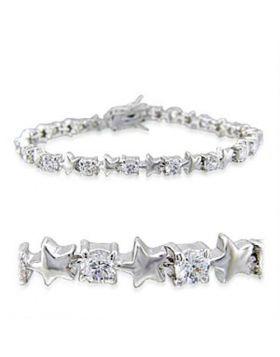 32020-7 - Brass Rhodium Bracelet AAA Grade CZ Clear