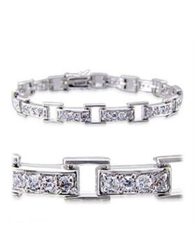 32023-7 - Brass Rhodium Bracelet AAA Grade CZ Clear