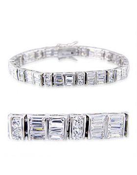 32024-7 - Brass Rhodium Bracelet AAA Grade CZ Clear