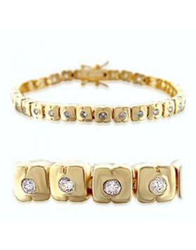 36711-7 - Brass Gold Bracelet AAA Grade CZ Clear