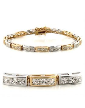 36712-7 - Brass Gold+Rhodium Bracelet AAA Grade CZ Clear