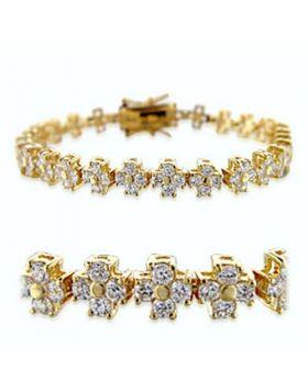 36714-7.5 - Brass Gold Bracelet AAA Grade CZ Clear