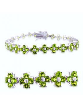 36715-7 - Brass Rhodium Bracelet Synthetic Peridot