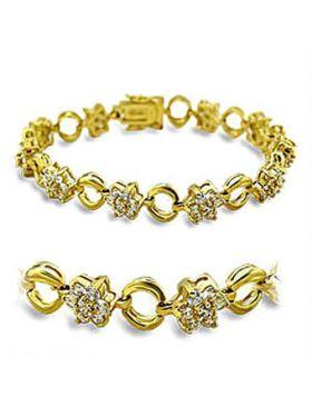 415506-7 - Brass Gold Bracelet AAA Grade CZ Clear