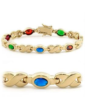 415603-7 - Brass Gold Bracelet AAA Grade CZ Multi Color