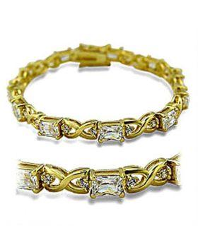 415705-7 - Brass Gold Bracelet AAA Grade CZ Clear