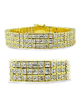 416003-7 - Brass Gold Bracelet AAA Grade CZ Clear