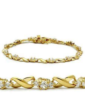 46801-7 - Brass Gold Bracelet AAA Grade CZ Clear