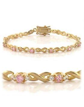 46804-7 - Brass Gold Bracelet AAA Grade CZ Rose